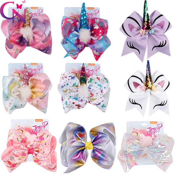 top popular 8 Inch Jojo Siwa Hair Bows Jojo Bows With Clip For Baby Children Large Sequin Bow Unicorn hair Bows 2019