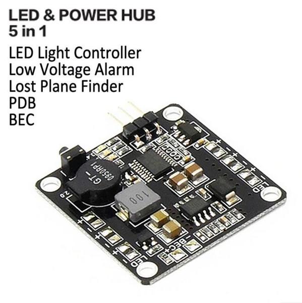 High-quality Systems LED & POWER HUB 5 in 1 Low Voltage Alarm Lost Plane Finder LED Light Controller BEC 5V/12V PDB kit