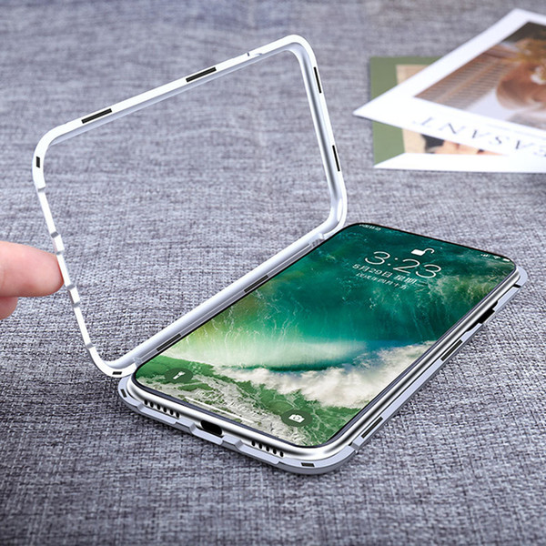 Easy Install Magnet Absorption Aluminum Metal Frame Magneto Phone Cases Anti-Scratch Tempered Glass Back Cover For IPhone X 6s 7 8 Plus