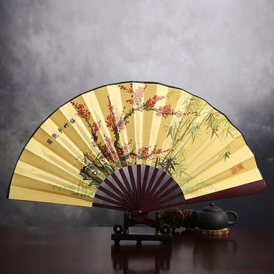 Large Floral Chinese Folding Fan Traditional Craft Handheld Portable Fans Men Bamboo Silk Fabric Fan Decoration 1pcs