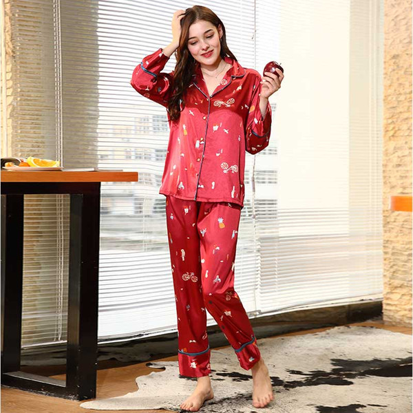 c5fe7de0a8 Women Red Long Sleeve Satin Pajama Sets Ladies Night Suit Winter Autumn  Pajama Set Two Piece