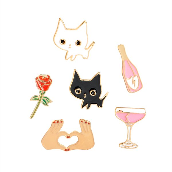 Champagne Coupe Saucer Rose Flower Heart brooches pins Shape White Cat Black Cat Lapel Pins Animal Brooch