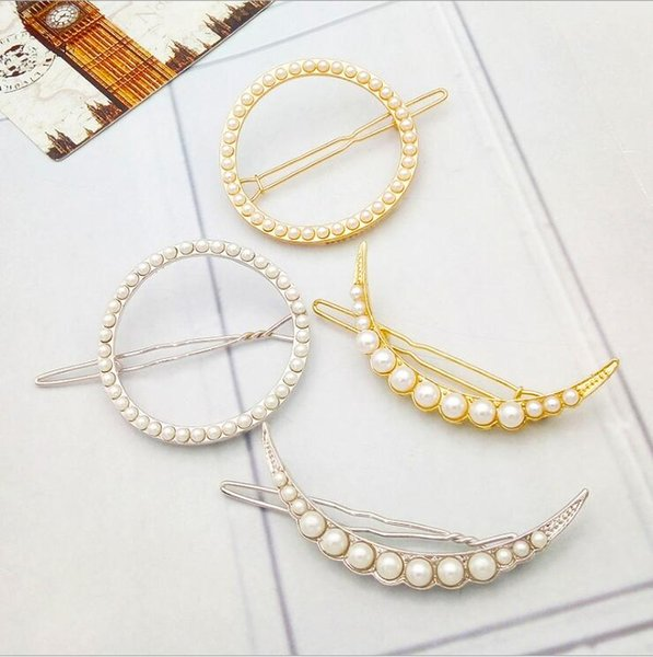 Easy Matched Moon Sun Shape Pearl Hairpin Hair Clips Women's Side Clip barrettes for girls free shipping