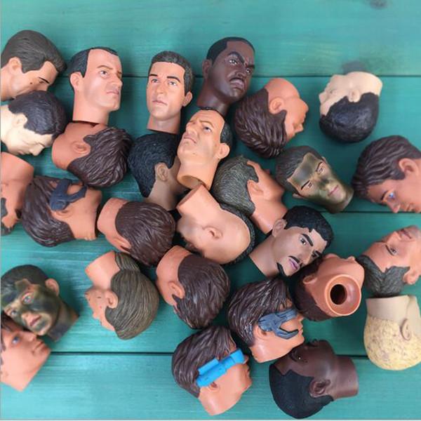 Lot5pcs Scelta casuale Scala 1/6 Testa maschile Sculpt Fit For 12 pollici Soldato Action Figure Giocattoli del corpo Collezione regalo