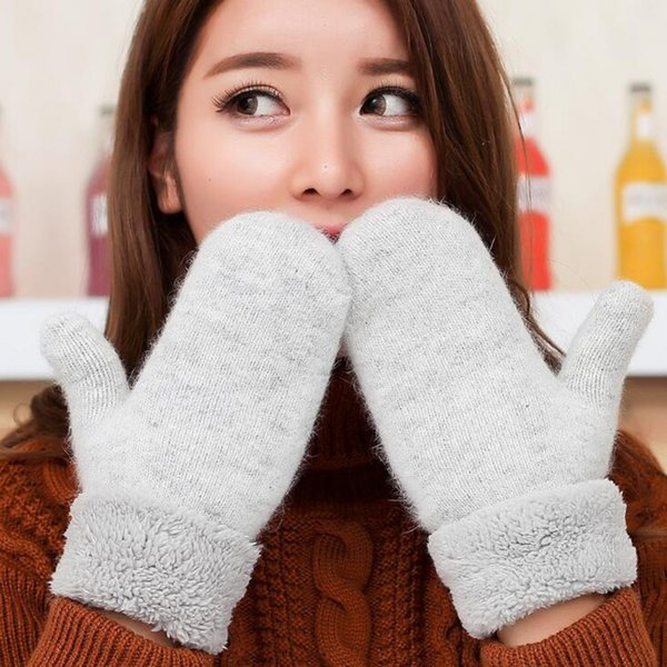 Lovely Female Winter Knit Wool Thicker Cashmere Velvet Warm Black Gloves Ladies Cute Fingerless Women Solid Mittens Guantes L83 Y18102210