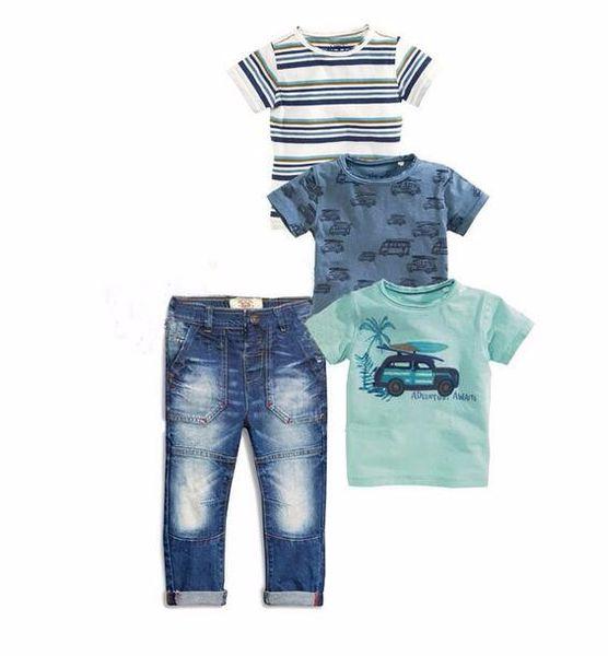 Short sleeve High quality boys handsome clothing 2 pcs / Set. children gentleman two-piece Pullover + jeans Children set 2018