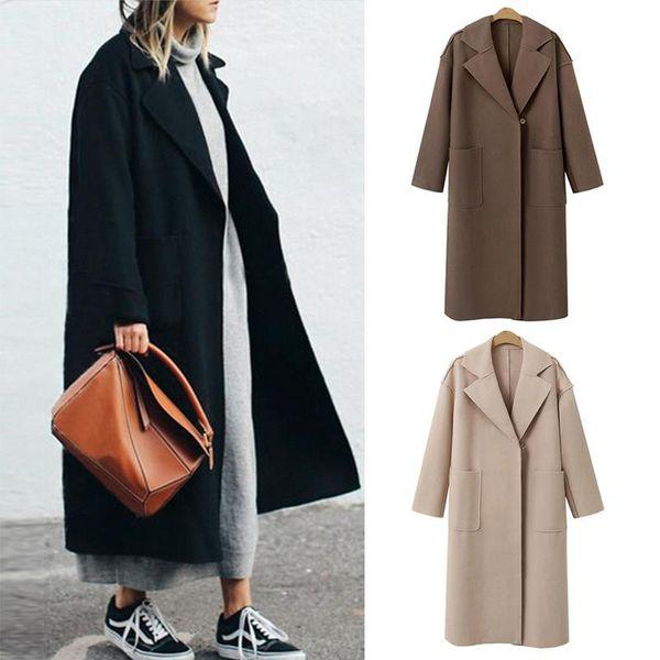 Womens Winter Revers Wollmantel Jacke Lose Plus Mantel Outwear Langarm warm hochwertigen Wollmantel Größe