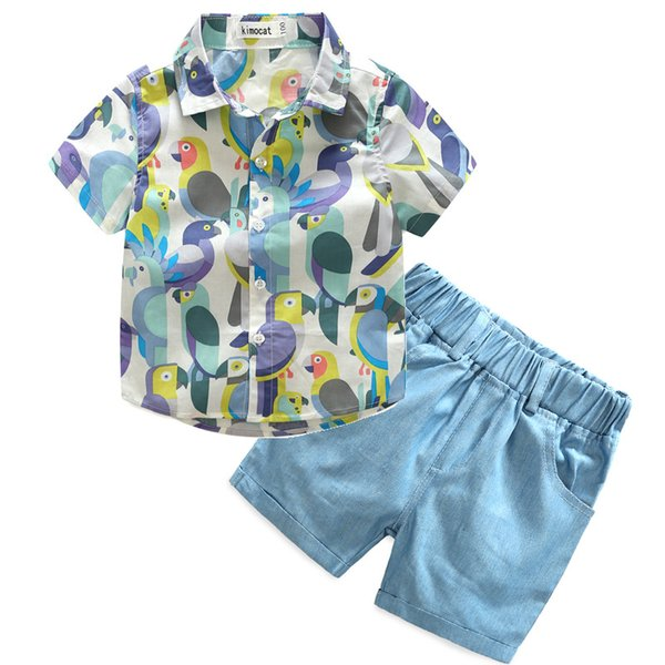 kids boy clothing sets parrot printed shirts+denim shorts pure cotton top quality wholesale childrens clothes cheap china 100-140