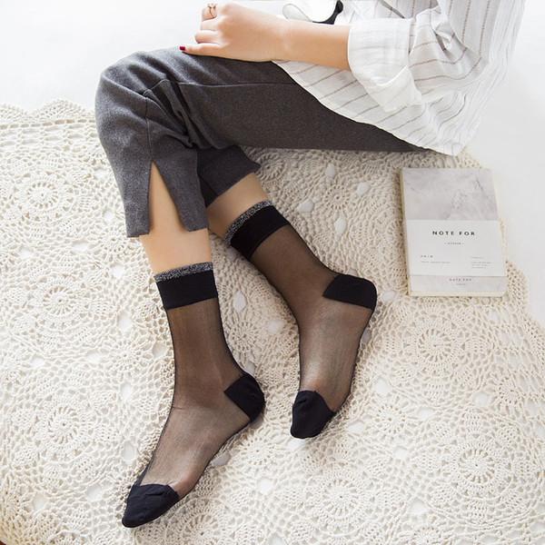 6 pairs Women Summer Fashion Sexy Crystal Silk Socks Female Transparent Elasticity Nylon Thin Short Socks