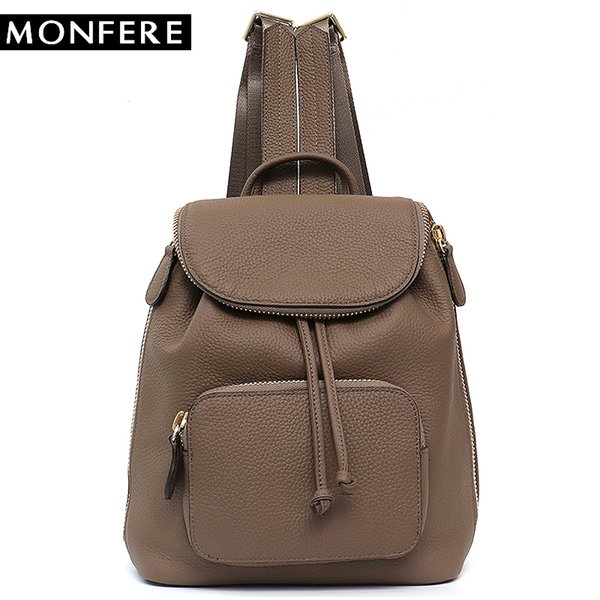 MONFERE Genuine Leather Big Backpack School Bag for Girls Multi Zip Pockets Large String Shoulder Packsack Cowhide Flap Hasp Bag