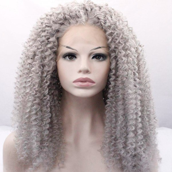 Natural Looking Long Curly Ombre Black to Grey Synthetic Hair Lace Front Wigs for Black Women Half Hand Tied Heat Resistant Fiber 24 inches