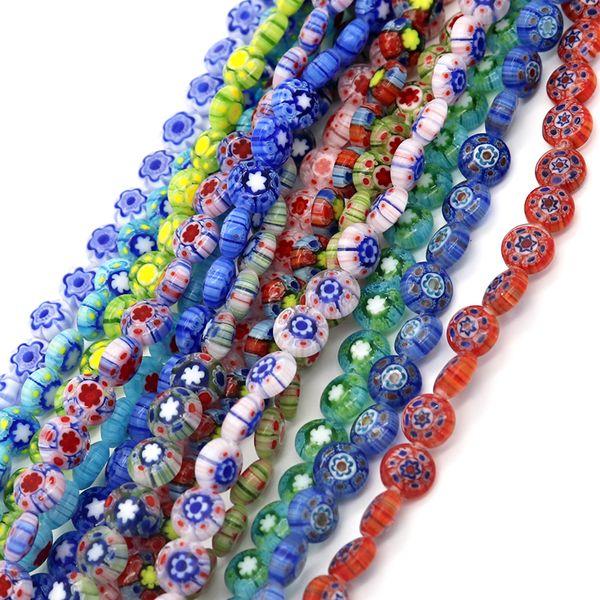 HOT!8x4mm 50pcs/lot Round Shape Beads Glass Millefiori Flower Lampwork Beads for Bracelet Jewelry Making & DIY Craft