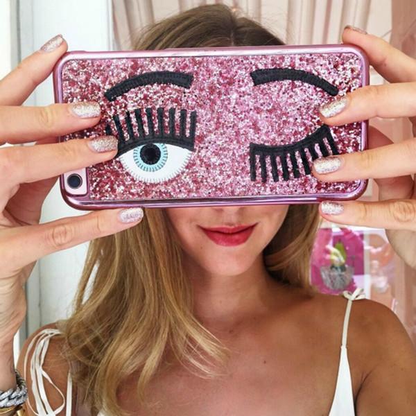 marchio di moda Chiara ferragni Bling Glitter in polvere 3D ciglia big eye Placcatura custodia per iPhone 6 6s 7 8 plus 10 cover X