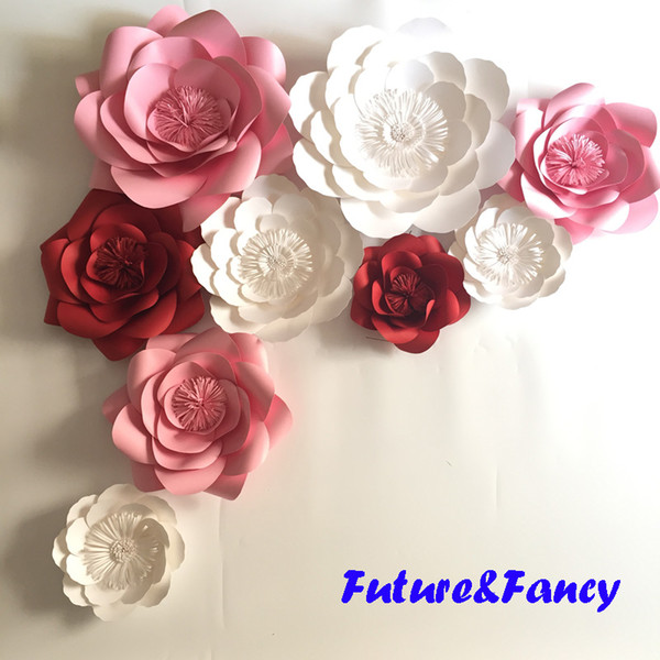 Mesa Principal Baby Shower.Set Mix Giant Paper Flowers For Wedding Backdrops Bridal Shower Baby Shower Party Decor Flower Centerpiece Wrist Corsage Uk 2019 From