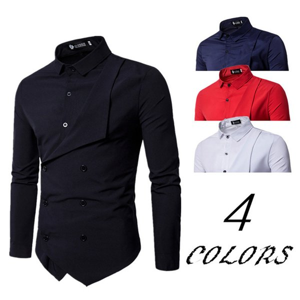 TOLVXHP 2018 hot men's personality double-breasted fake two long-sleeved shirt exclusive top design casual shirt SIZE M-XXL ZHAN