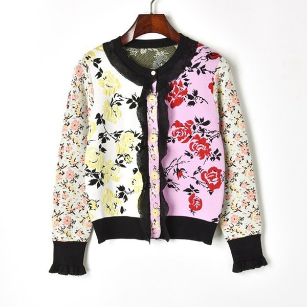 Runway Vintage Flower Jacquard Cardigans Female 2018 New Fashion Jersey Knitted Sweater Women Lace Patchwork Jacket Cute Jumper