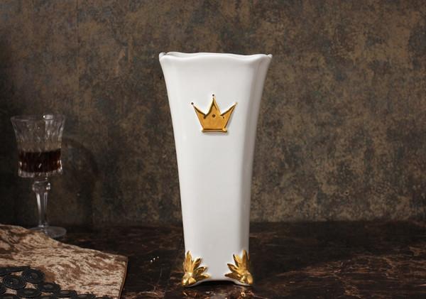 Mesa vase simple European living room furniture creative marbling flower bottle decoration water can pepe Noble gilding vase Free Shipping