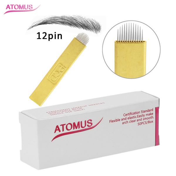 50 Adet U 12 Pin Altın Microblading İğneler Dövme İğneler Mermanent makyaj Kaş Kalem Makinesi için Kavisli