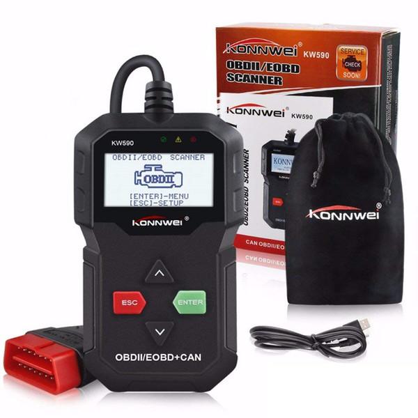 KONNWEI KW590 OBD2 CAN Diagnostic Code Reader Update Online Print Data via USB kw590 OBD II Full Function SCANNER Multi-Language
