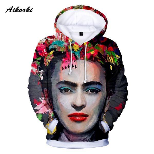 Aikooki 2018 3D Hoodies Homens / Mulheres Moletom Com Capuz 3D Impressão Pintor México Com Capuz Meninos / Meninas Polluvers