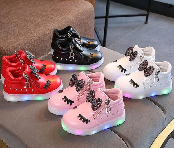 MUQGEW Kids Baby Infant Girls Crystal Bowknot LED Luminous Boots Shoes Sneakers Butterfly knot diamond Little white shoes