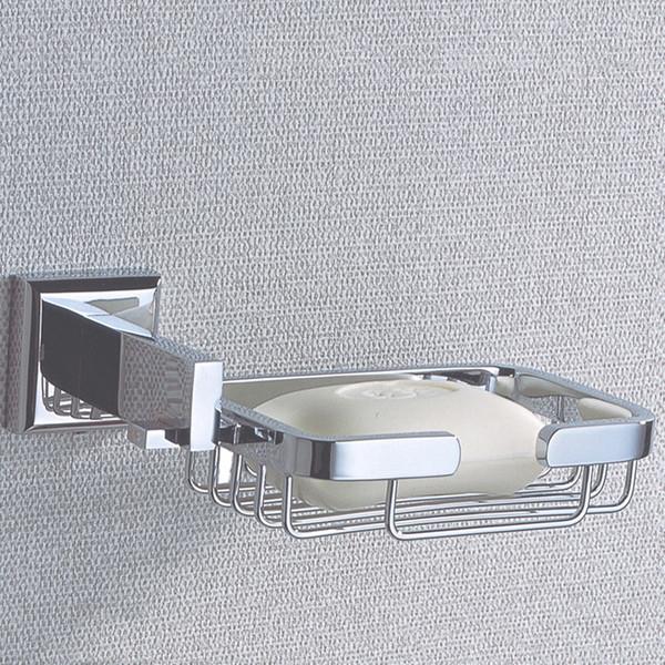 Rectángulo de jabón Disposición de pared Tornillos ocultos Soporte de la cesta de jabón con latón cromado para baño y cocina