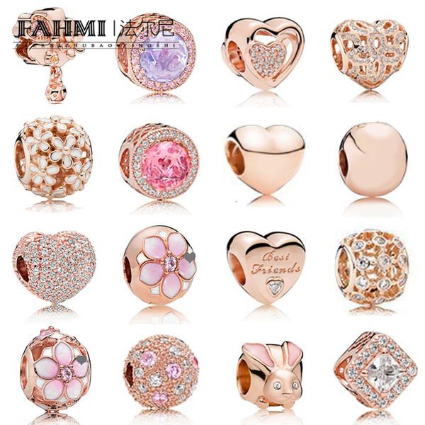 FAHMI 100% 925 Sterling Silver Charme Rose Gold Beads Cerejeiras Em Forma de Coração de Coelho Temperamento Requintado Moda Feminina Jóias