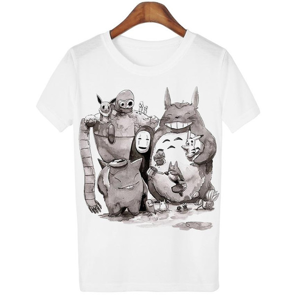 Wholesale-Fancy Fashion New 2016 Cute Totoro T shirt Women Cartoon 3D Harajuku Casual Tops Tees Blusa O Neck T-shirt camisetas WMT93