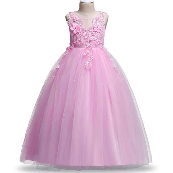 2018 Ball Gown Flower Girls Dresses Blush Lace beading lace appliques Kids Pageant Gowns Little Girl Birthday Christmas Party Dresses