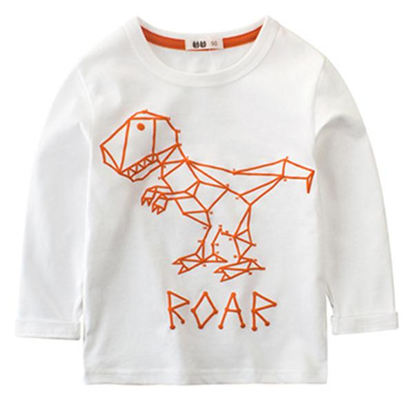 Wholesale new fashion autumn children's basic shirt boy dinosaur letter print long sleeve round neck boy T-shirt hot sale free shipping