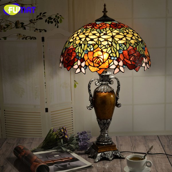 FUAMT European Vintage Tiffany Art Light Living Room Bed Room Table Lamps Creative Warm Retro Stained Glass LED Table Lamp