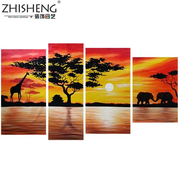 Home Decoration African Elephant Oil Painting Wall Decor Giraffe Sunset Landscape Canvas Painting Multi Panel Handpainted 4pcs Set