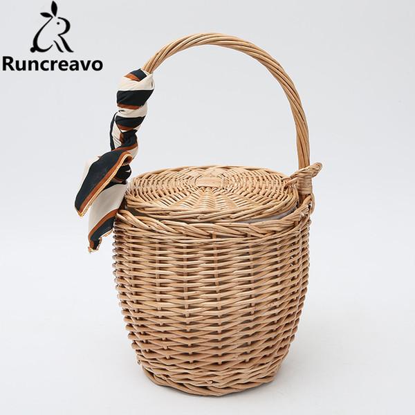 Summer tote bucket Bags For Women 2018 Luxury Handbags Women Bags Designer Famous Brand Ladies Rattan Beach Bag Wicker Straw Bag