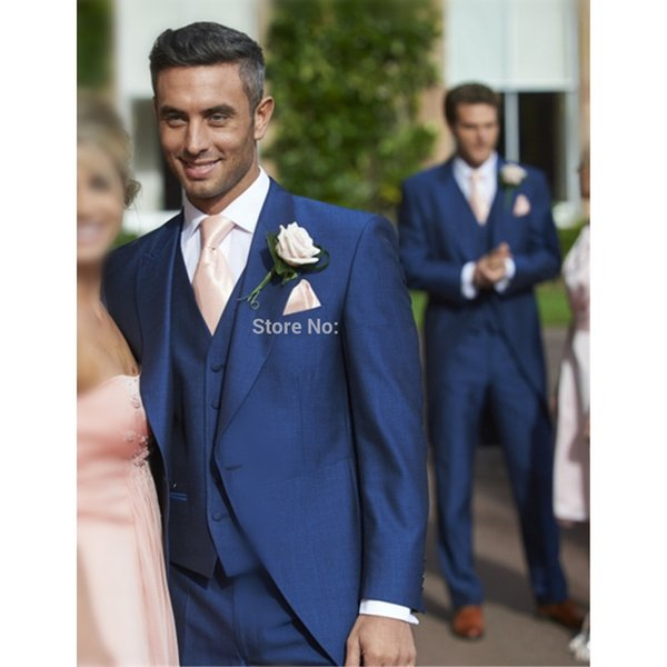 Wedding Men Suit and Vest Custom Made Royal Blue veste homme Slim Fit mens blazers suits wedding groom Jacket+Pants+Vest