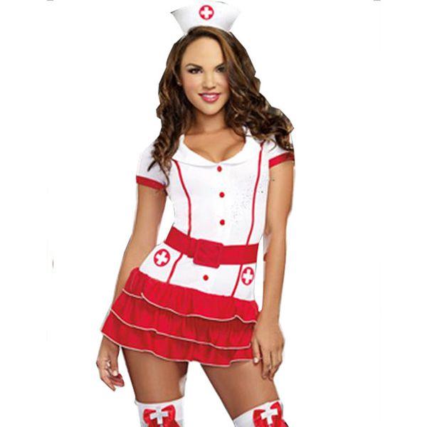 Infirmière Coquine Costume Pour Femmes Infirmière Médecin Fancy Party Dress Sexy Hôpital Hottie Rouge Infirmière Tenue Uniformes Cosplay C18111601