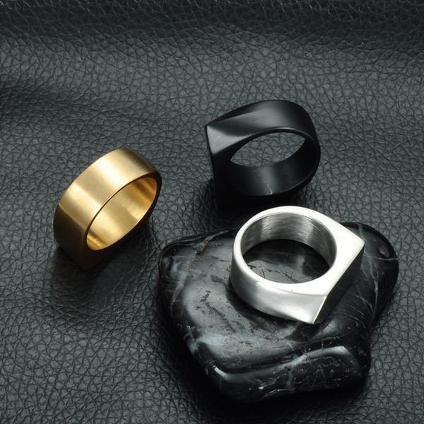 European and American men's classic geometric rings Simple arrow ring for titanium steel