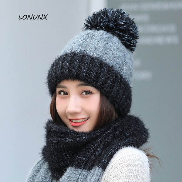 high quality Korean version fashion winter Stitching color Women's hat + scarf keep warm knitting Hairball Leisure Wild 2 pieces