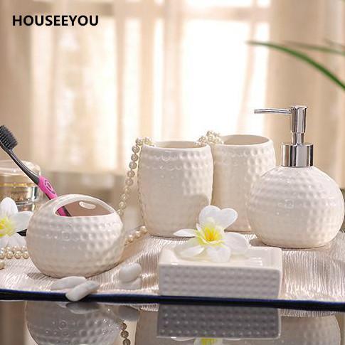 Porcelain Bathroom Sets Ceramic Golf Ball Shape Dimpled Grain Design White / Red Glaze 5pcs/set Accessories Bathroom Sets