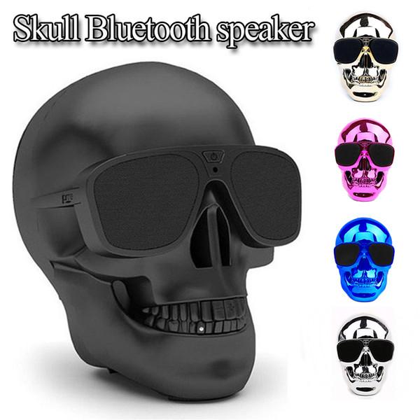 Factory Wholesale Metallic Skull Shape Wireless Bluetooth Speaker Sunglass NFC Skull Speaker Mobile Subwoofer Multipurpose mini Cool Speaker