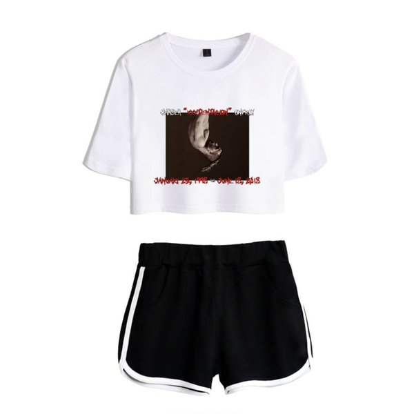 Summer Harajuku Hip Hop Two Piece Set Women Sexy Crop Tops +Shorts Pant Aspects Print Tracksuit Women Conjunto Feminino Female