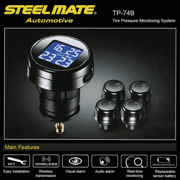 Steelmate TP-74 4 Sensoren Wireless DIY TPMS Reifendruck-Monitor-System mit LCD-Display Bar PSI Option
