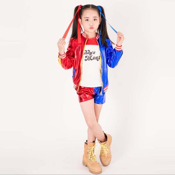 Halloween 3pcs Harley Qui nn costume veste T-shirt Tee Lil Monster Suicide Saddad papa Cosplay Costume d'Halloween pour les enfants Fille