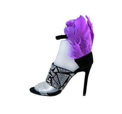Purple Feather High Heels Women Sandals Ankle Buckle Strap Women Pumps Clear PVC Studded Crystal Stiletto Heels Shoes