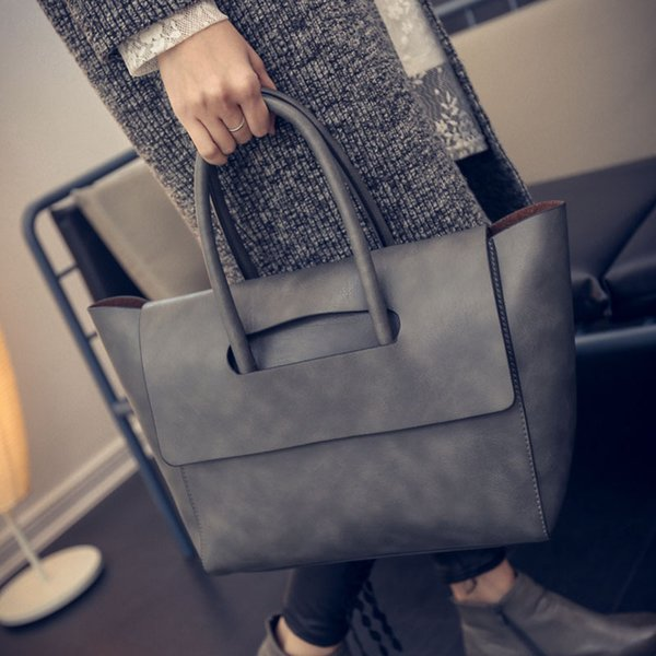 Women Tote Bag High Capacity Female PU Leather Handbags Hand Bag Woman Luxury Shoulder Bags Black Brown Gray Sac Femme