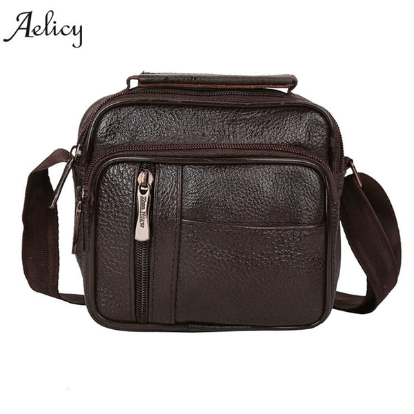 Aelicy 2018 New Fashion Designer High Quality PU Leather Men shoulder Bag Casual Zipper Office Crossbody Messenger Bags for Men