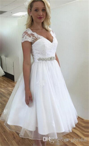 Country Short A-Line Wedding Dresses Vintage Luce V Neck Beaded Belt Applique Sash Short Sleeves Zipper Tea Length Bridal Gowns