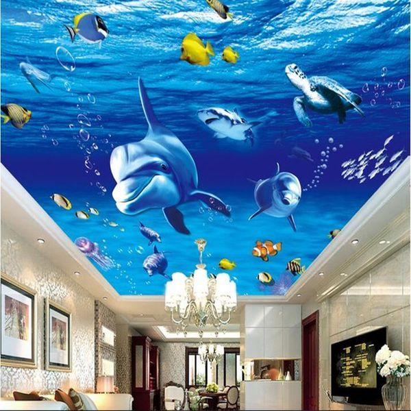 3d wallpaper custom photo non-woven 3 d underwater world dolphins fish ceiling murals painting 3d wall room murals wallpaper