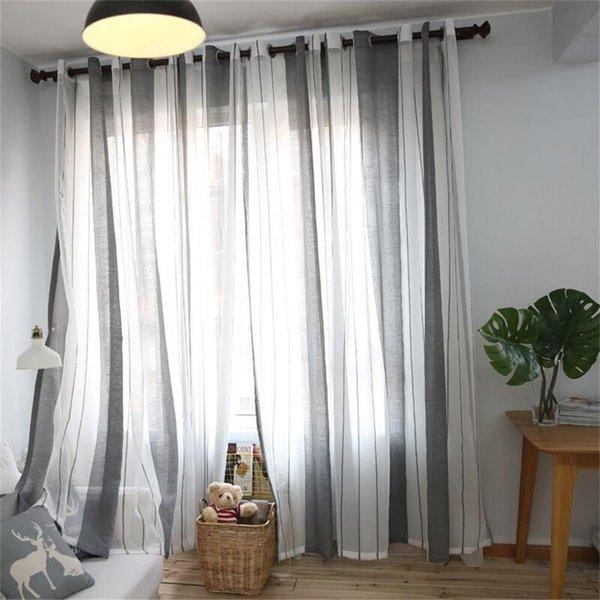 2019 Gray Sheer Curtain Tulle Window Treatment Voile Drape Valance 1 Panel  Fabric Modern Curtains Living Room Cortina Rideaux From Kunnylight, &Price;  ...