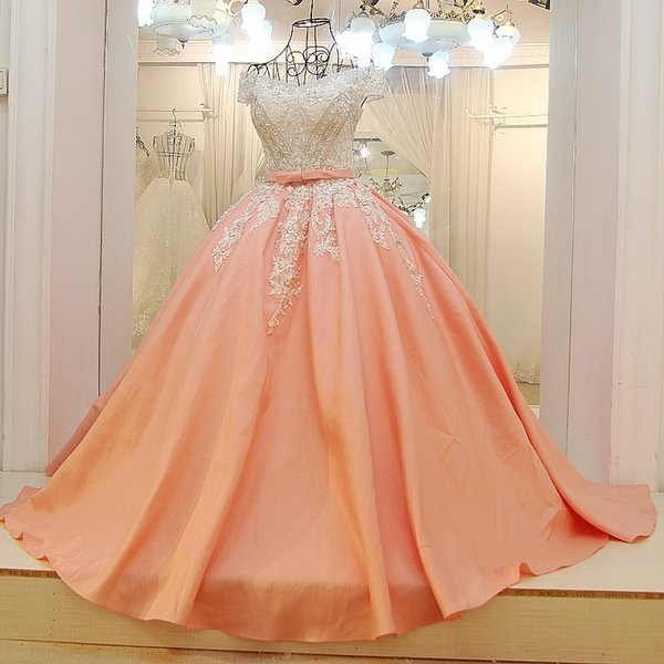 Arabic Evening Gowns Prom Dresses Satin Beaded Ball Gown Sweetheart Corset Back Elegant Evening Formal Dresses 2019 Newest Design