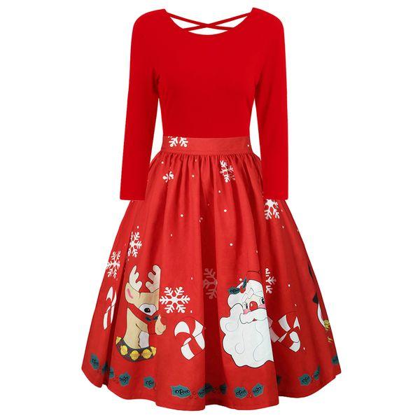 Kenancy 5XL Christmas Print Women Dress Rockabilly Swing Criss Cross Party Dress Spring Long Sleeves Female Midi Vestidos